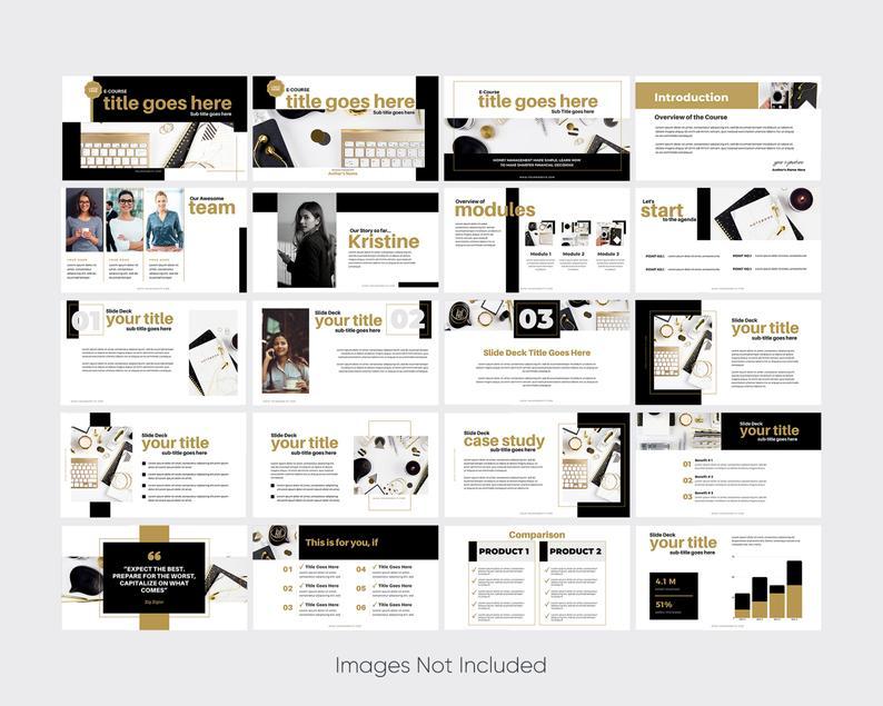 Webinar Slide Deck Slide deck Canva templates Webinar Template CANVA Lovely Business 40 PAGE Course Creator Gold Slide deck template